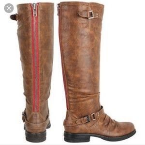 Steve Madden knee High Red Zipper Knee Boot